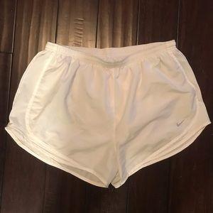 All white Nike Dri-fit Shorts